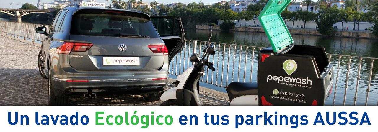 Lavado ecológico en los parking AUSSA de Sevilla